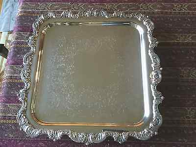 """Poole 4-Footed Silverplated Ornate Square Tray - Measures 14"""" x 14"""""""
