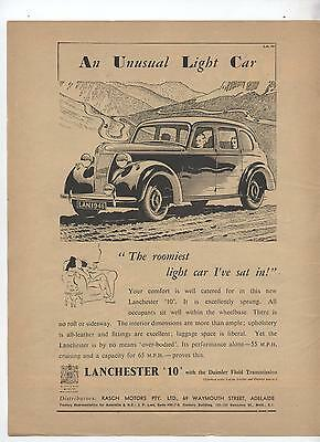Lanchester 10 Original Advertisement removed from a 1947 Magazine