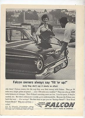 XK or XL Ford Falcon Original Advertisement removed from a Magazine
