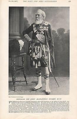 1897 Antique Military Print-General Sir John Alexander Ewart K.c.b.