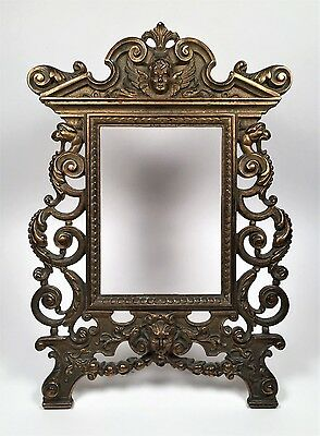 Antique BRONZE Picture Frame~Ornate CHERUB GRIFFINS GARGOYLE Scrolls~French~12""