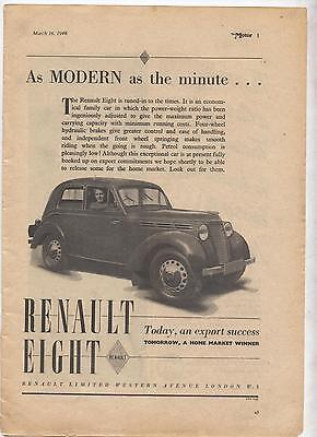 Renault Eight Original Advertisement removed from a magazine