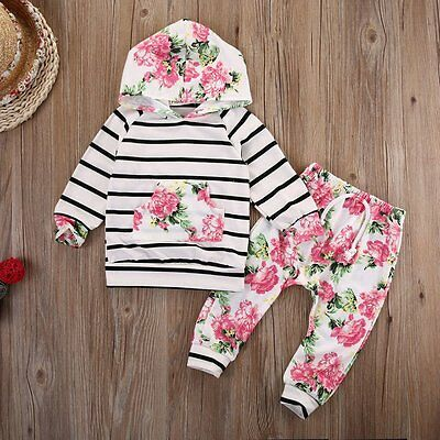 2Pcs Newborn Baby Boys Girls Floral Hooded Tops +Long Pants Outfits Clothes Set