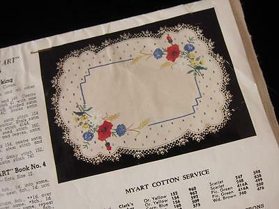 Unworked Vintage Myart Field Flowers Traced Linen Centrepiece Doily to Embroider