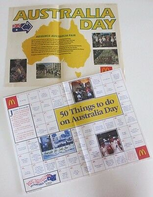 Two Australia Day McDonald's Tray Liners - 1990s
