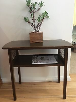 Vintage Timber & Rattan Side/occasional Hall Table