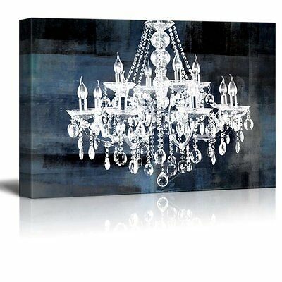 """Canvas - Crystal White Chandelier on Blue Abstract Vintage Background - 24""""x36"""""""