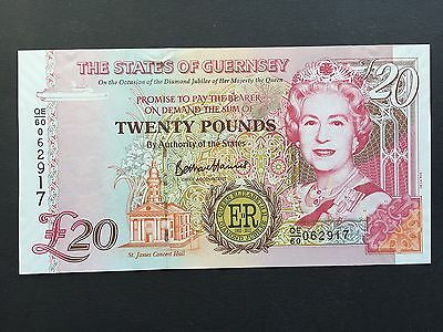 Guernsey 20 Pounds P61 Commemorative QEII Diamond Jubilee Issued 2012 UNC
