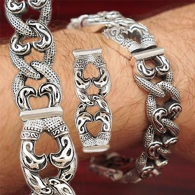 "8.2"" 108g HUGE HEAVY CURB LINKS TRIBAL 925 STERLING SOLID SILVER MENS BRACELET"