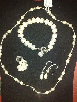 Fresh Water Pearl Necklace Bracelet Earring and Ring set in sterling silver