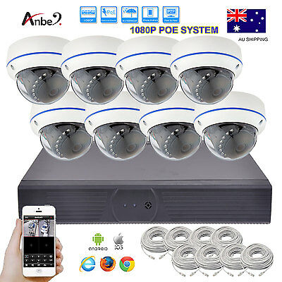 8CH Network POE NVR + 8pcs 1080P HD CCTV IP DOME IR Camera SYSTEM FREE CABLE AU
