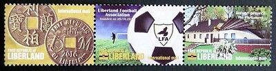 Liberland 2016 MNH - strip of 3 ( building, football, coin )