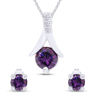 """Round Purple Amethyst 925 Silver Pendant and Earrings Set 18"""" Chain, 2.25 Ct"""