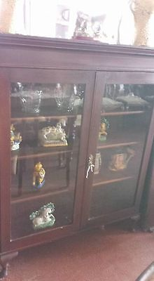 C1900 Solid Mahogany Glazed Bookcase / Display Queen Anne Feet**Adjustable**