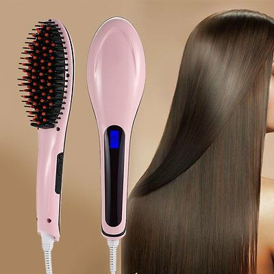 Digital LCD Electric Hair Brush Anti Static Hair Straightener Comb Massager