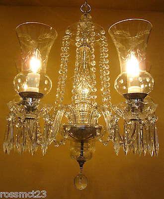 Vintage Lighting circa 1940 crystal chandelier   Amazing Hurricane Shades