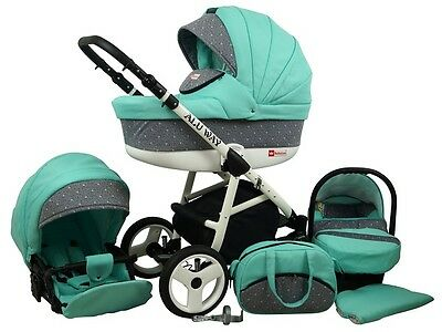 Kinderwagen BABYLUX ALU WAY MINZE, 3 in 1- Set Wanne Buggy Babyschale,Muff