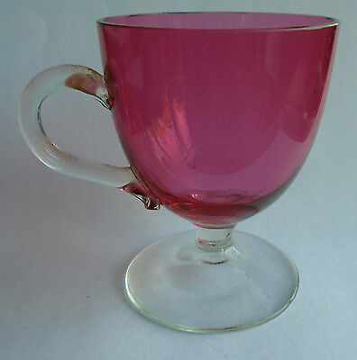 old small cranberry glass custard cup