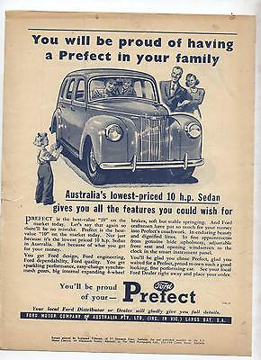 Ford Prefect Sedan Original Advertisement  from a 1950 Magazine