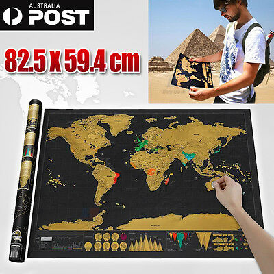 Scratch Off Map World Deluxe Large Personalized Travel Poster Travel Atlas AUS