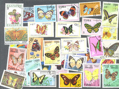 Butterflies/Moths 100 all different collection-mainly large-medium