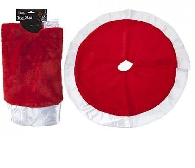 "34"" Large Plush Soft Christmas Xmas Tree Skirt With Satin Rim Base Cover"