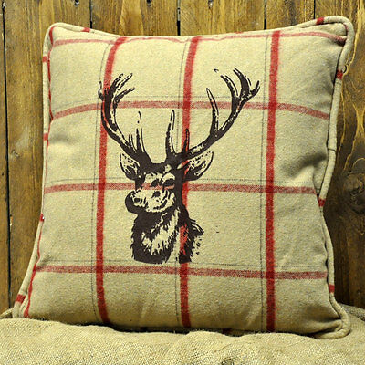 45x45cm Cream Tartan Stag Print Cushion Soft Woven Tweed Wool Fabric *Filled*