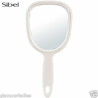 Sibel White Plastic Vanity Hand Mirror - Beauty & Salon Essential Paddle Shaped