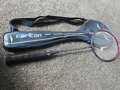 Carlton Graphite Powerflo Badminton racket and zipped carrying cover.
