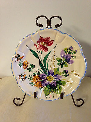 """Vintage NOVE Italian Art Pottery Hand Painted 7 3/4"""" Plate - Floral Pattern"""