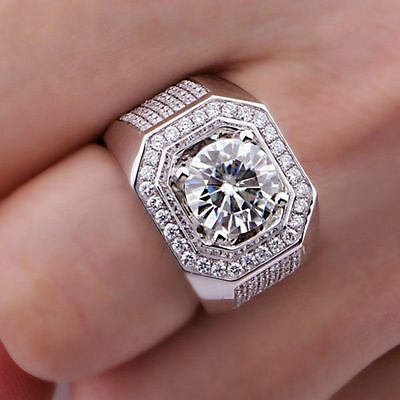 3 CT Round Diamond 10K White Gold FN 925 Silver Men Vintage Jewelry Wedding Ring