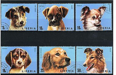 Liberia 1974 mint set of 6+S/S, DOGS, collie, beagle, terrier C.T.O. SET OF SIX.