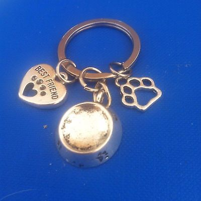 "Dog - ""BEST FRIEND"" Key ring. Bowl, paw print charms"