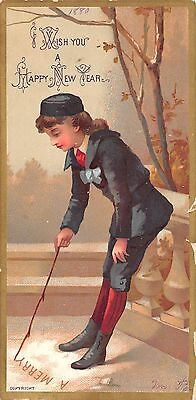 1880 Happy New Year And Merry Christmas Victorian Card Girl With Stick