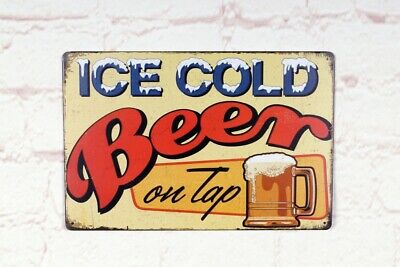 Antique Ice Cold Beer signs Vintage Metal Tin Signs Bar Home Pub Wall Decor