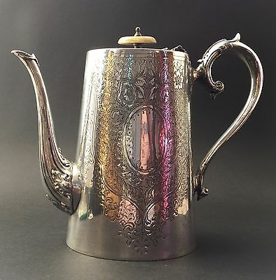 Antique Victorian Silver Plated Engraved Coffee Pot by Barker Bros Sheffield