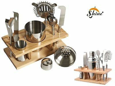 10 Pcs Cocktail Maker Bar Jigger Strainer Bottle Opener Shaker Set Wood Stand