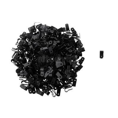 1000x R Type Coaxial Cat5 Cat6 Cable Clamp Electrical Wire Clip 8.4mm Black