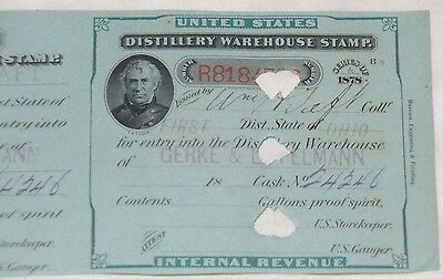 Distillery Warehouse Stamp signed by President William H Taft