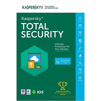 Kaspersky Total Security 2017 5 PC / 1 Year / Full Version / Original Key