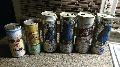 8 BEER Large Size Cans COLLECTION LOT Schlitz Tall Boy Stroh Tennant 70s Steel