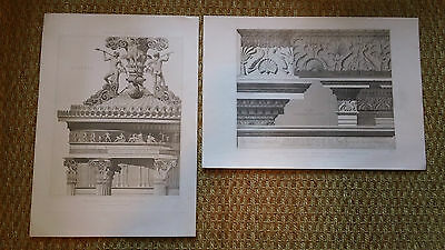 2 Antique Original Engraved Classical Architecture Prints Greek and Roman Art