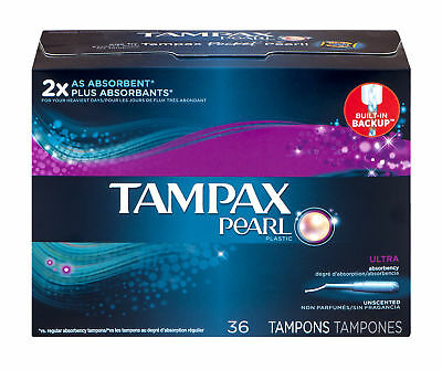 Tampax Pearl Tampons Ultra Absorbency Unscented, 36 Count (Pack of 6)