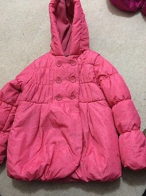 M&S girls pink lightly padded hooded coat. Age 4-5yrs
