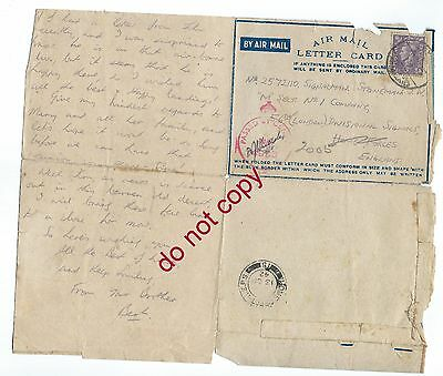 WW2 air mail letter to Signalman Stoneman of 56th London Division Signals