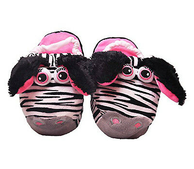 Fluffy Flopz Zebra Child's Slippers Animal Plush Magic Movement Foot Gift Xmas