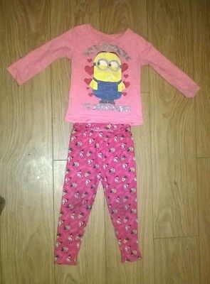 Minions Despicable Me Girls Outfit Top & Leggings 3-4 years