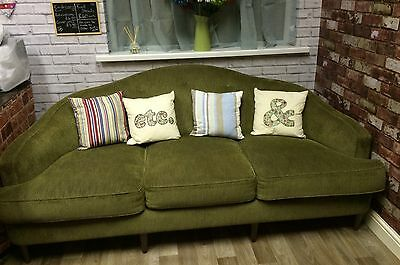 Art Deco Style Vintage Sofa in Green Chenille Fabric - 3 Seater - Very Solid