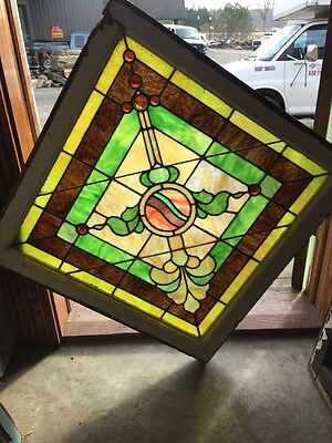 "Sg 917 Antique Square Jeweled Arrow 30.5"" X 30.5"" Stainglass Window"