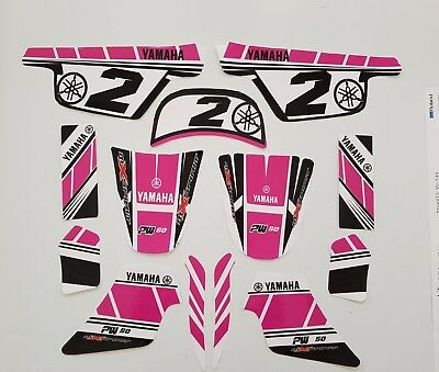 Stickers Kit Deco Rose GIRLY pour moto YAMAHA PW 50 Piwi Qualité Standard